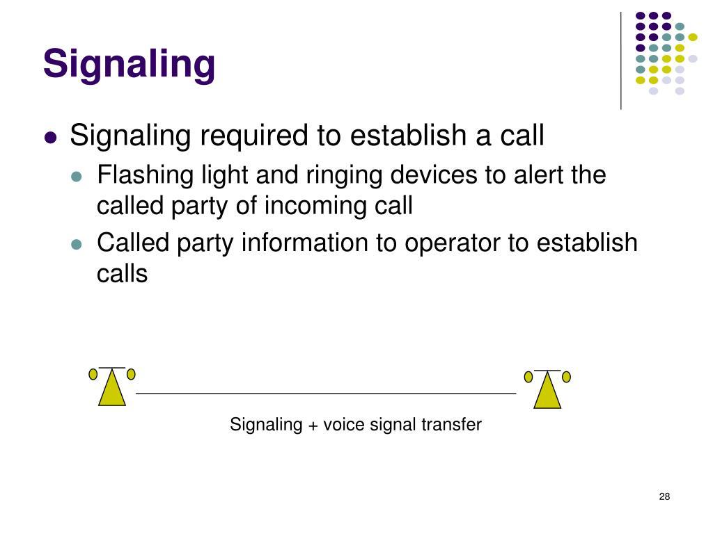 Signaling + voice signal transfer