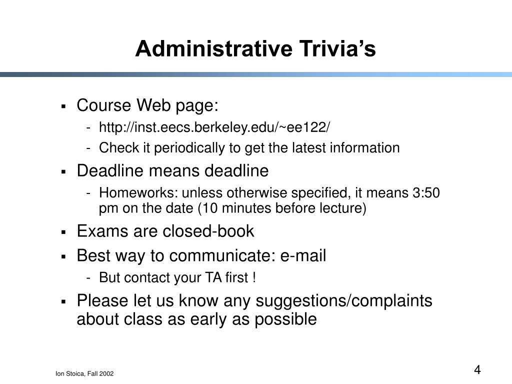 Administrative Trivia's