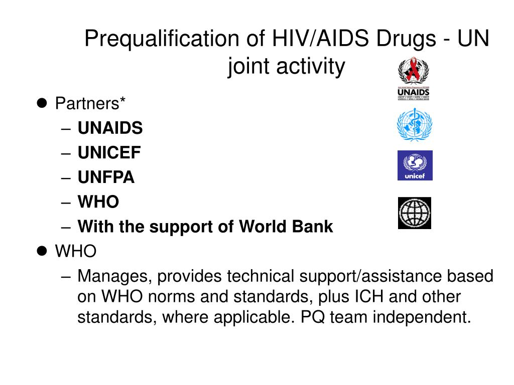 Prequalification of HIV/AIDS Drugs - UN joint activity