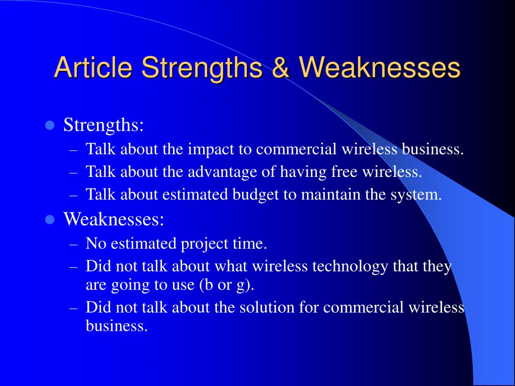 Article Strengths & Weaknesses