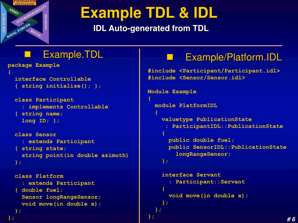Example TDL & IDL