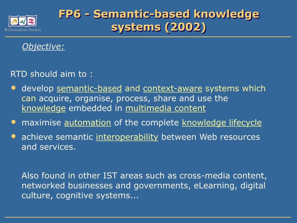 FP6 - Semantic-based knowledge systems (2002)