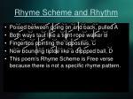 rhyme scheme and rhythm