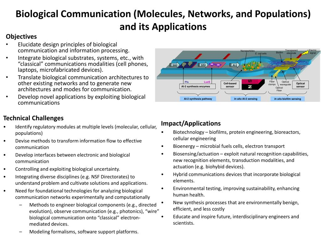 Biological Communication (Molecules, Networks, and Populations) and its Applications