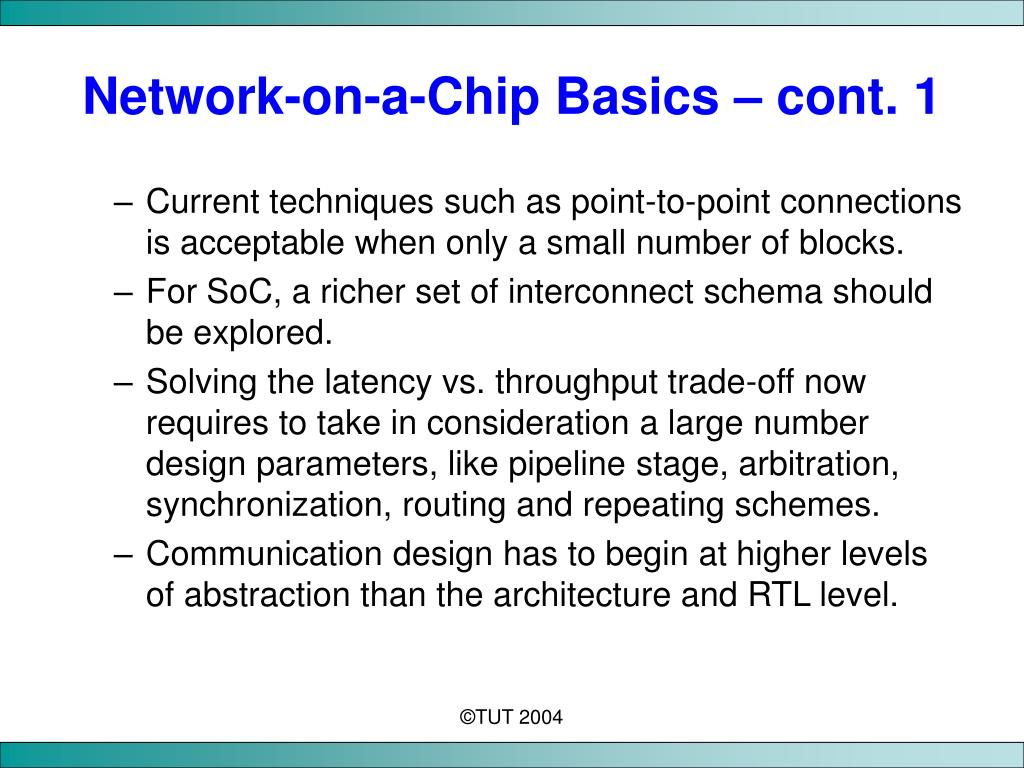 Network-on-a-Chip Basics – cont. 1