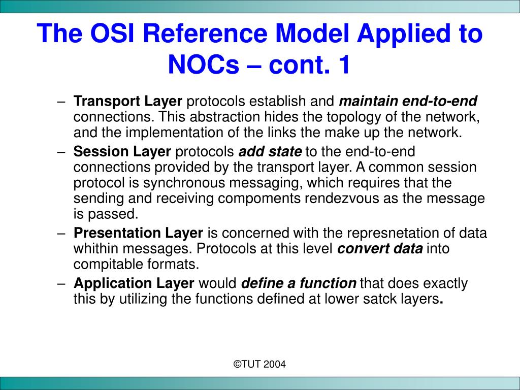 The OSI Reference Model Applied to NOCs – cont. 1