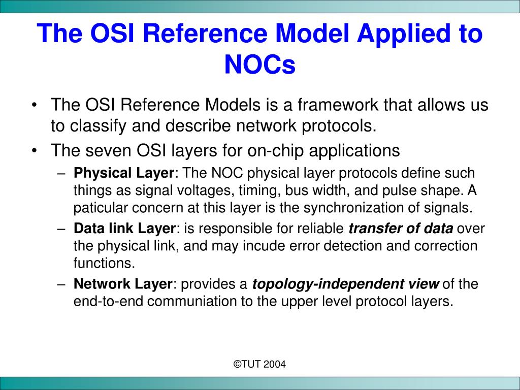 The OSI Reference Model Applied to NOCs