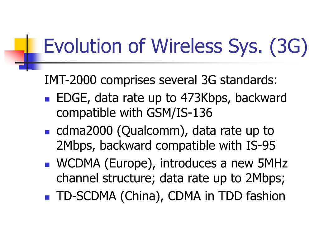 Evolution of Wireless Sys. (3G)