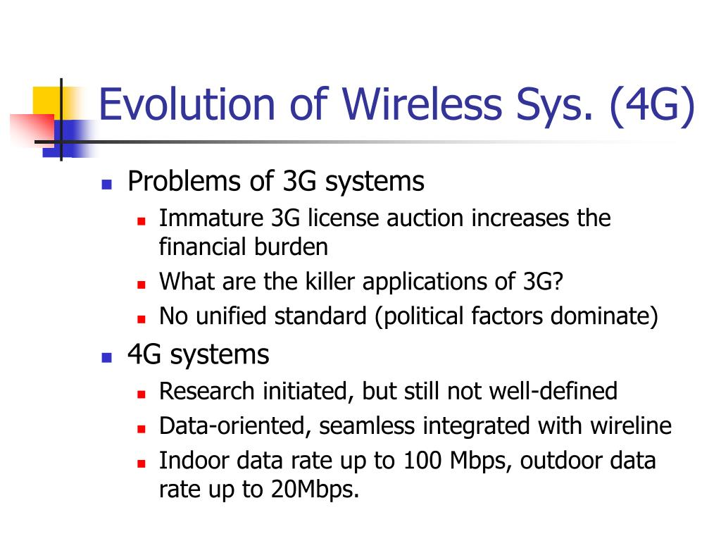 Evolution of Wireless Sys. (4G)