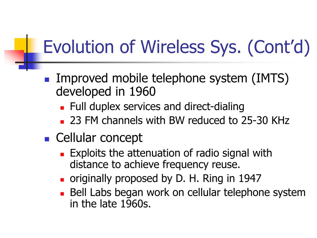 Evolution of Wireless Sys. (Cont'd)