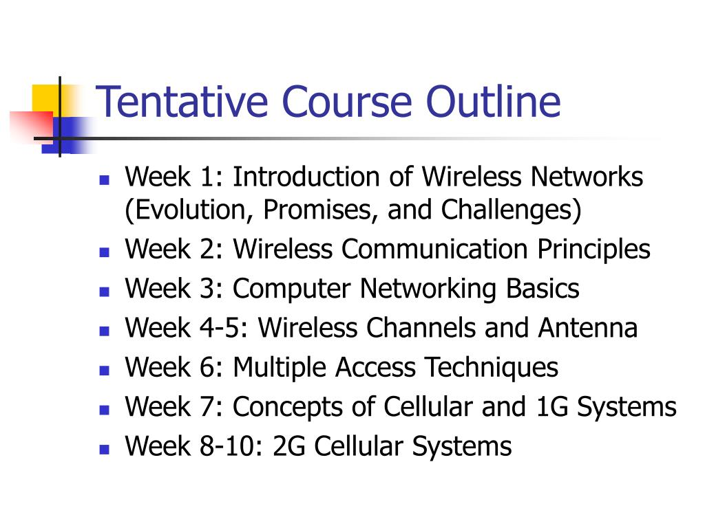 Tentative Course Outline