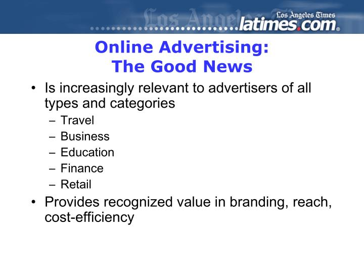 Online advertising the good news