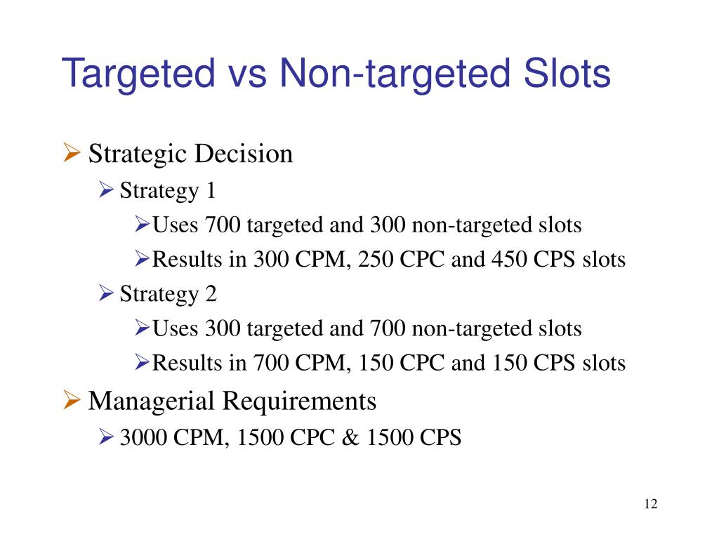 Targeted vs Non-targeted Slots