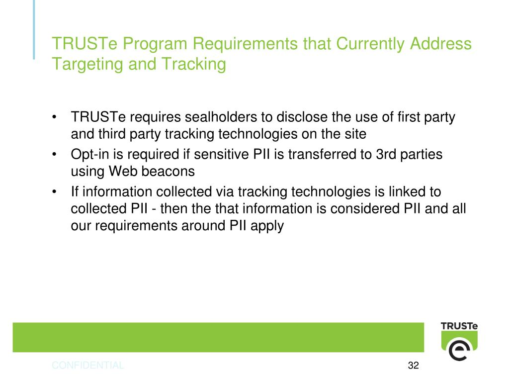TRUSTe Program Requirements that Currently Address Targeting and Tracking