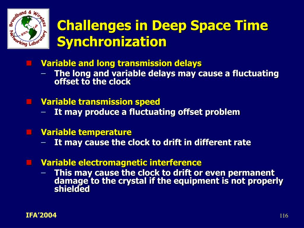 Challenges in Deep Space Time Synchronization