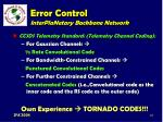 error control interplanetary backbone network111