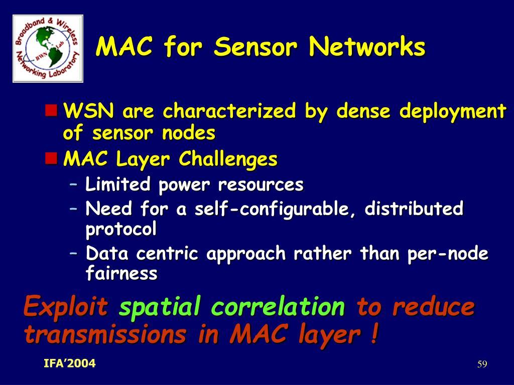 MAC for Sensor Networks