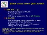 medium access control mac in wsn