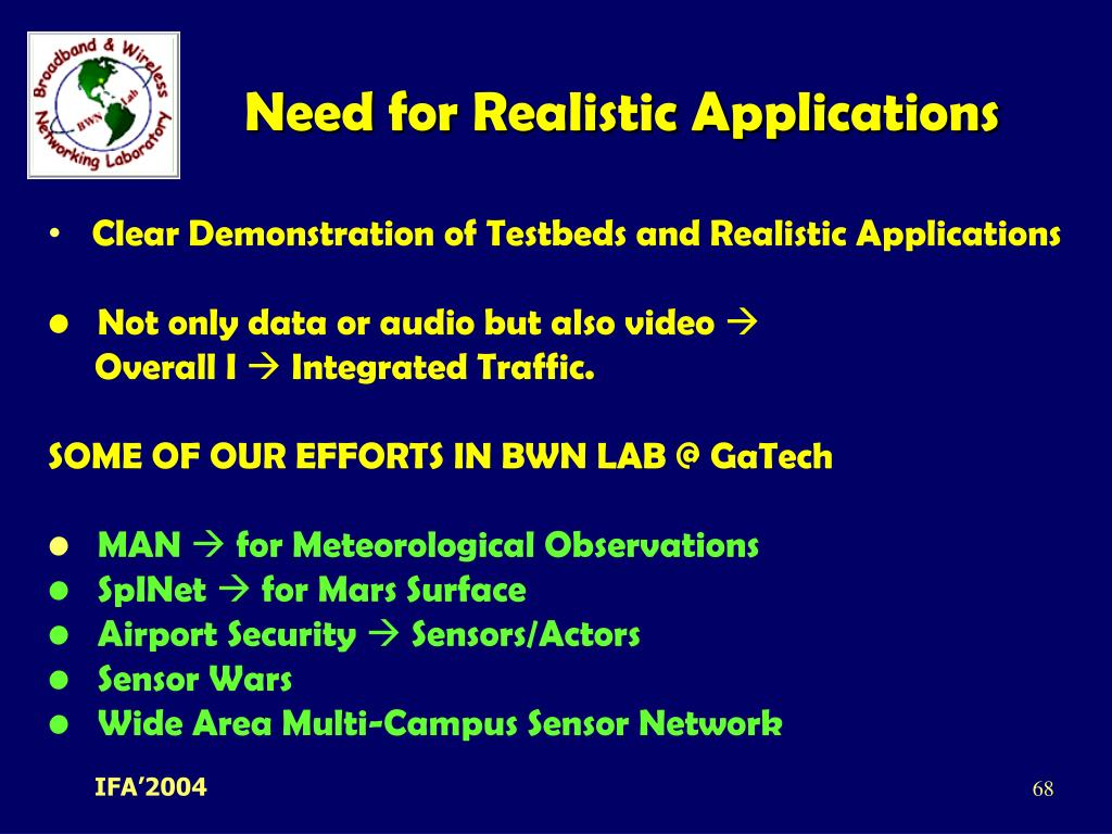 Need for Realistic Applications
