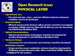 open research issues physical layer