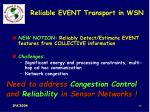 reliable event transport in wsn