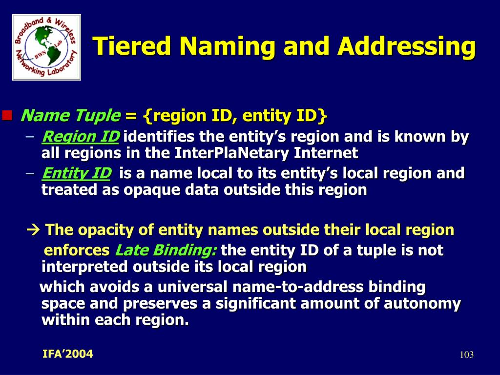 Tiered Naming and Addressing