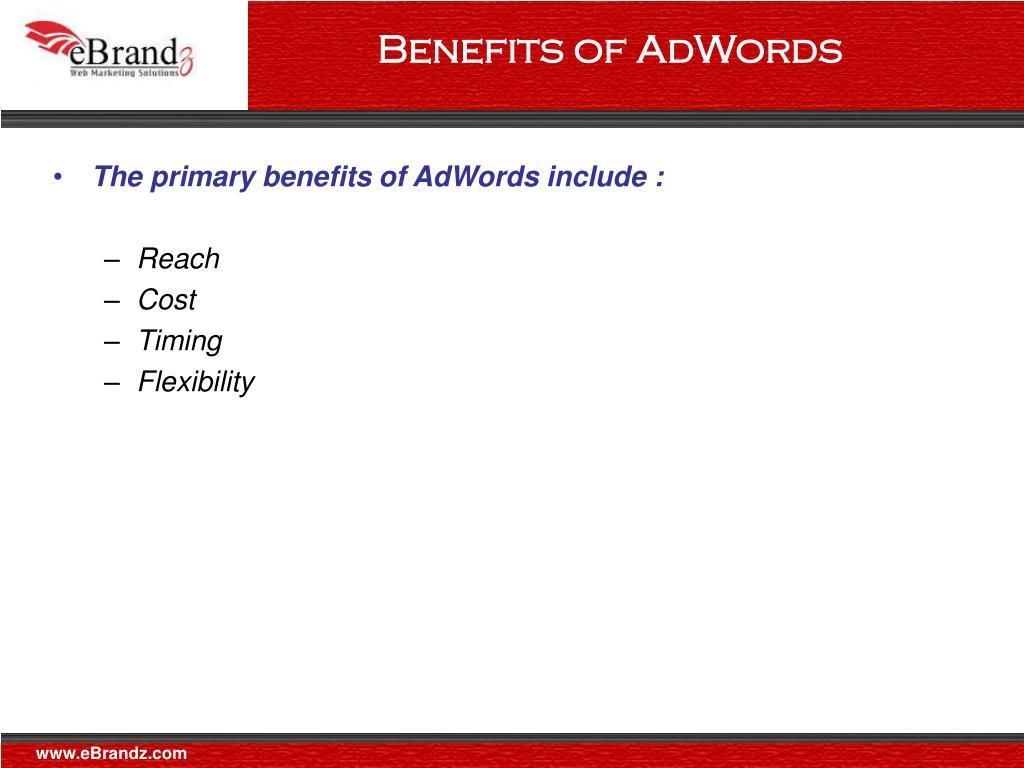 Benefits of AdWords