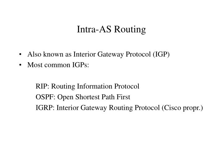 Intra as routing