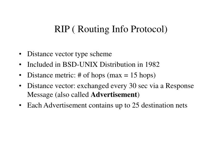 RIP ( Routing Info Protocol)