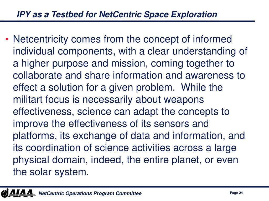 IPY as a Testbed for NetCentric Space Exploration