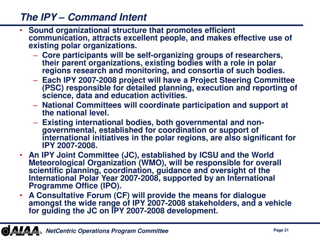 The IPY – Command Intent