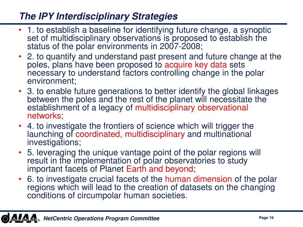 The IPY Interdisciplinary Strategies