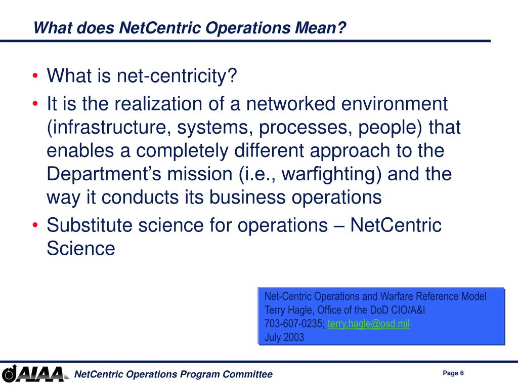 What does NetCentric Operations Mean?