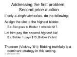 addressing the first problem second price auction