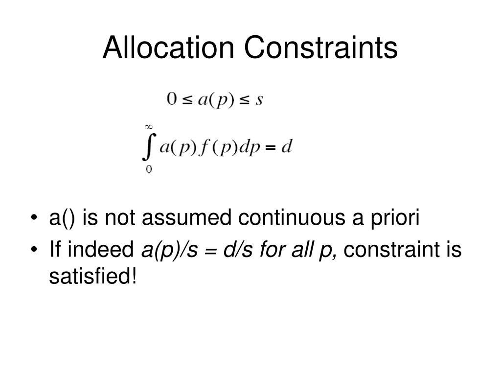 Allocation Constraints