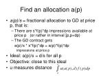 find an allocation a p