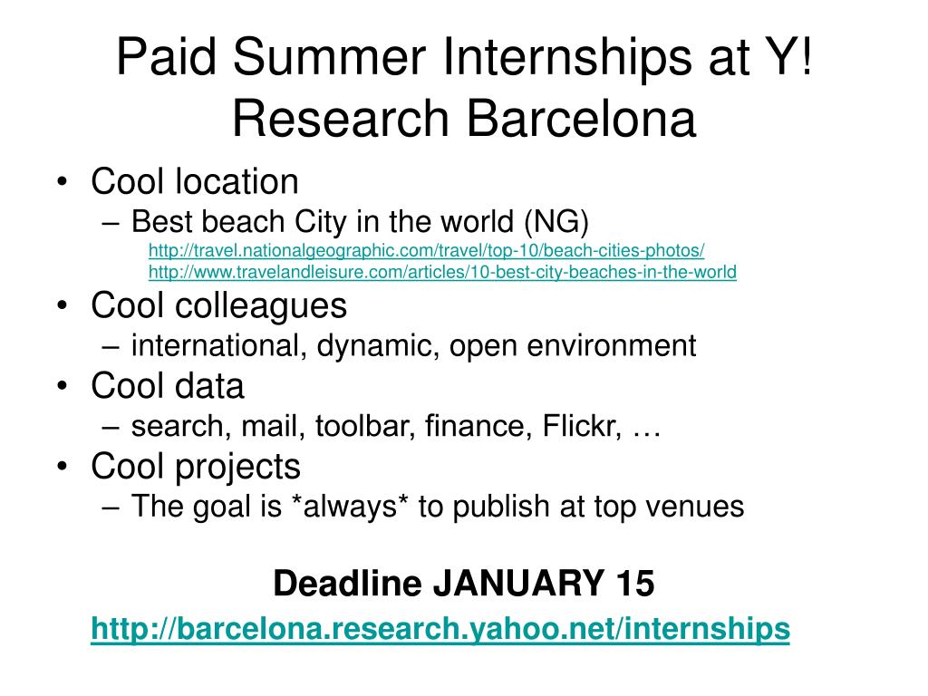 Paid Summer Internships at Y! Research Barcelona