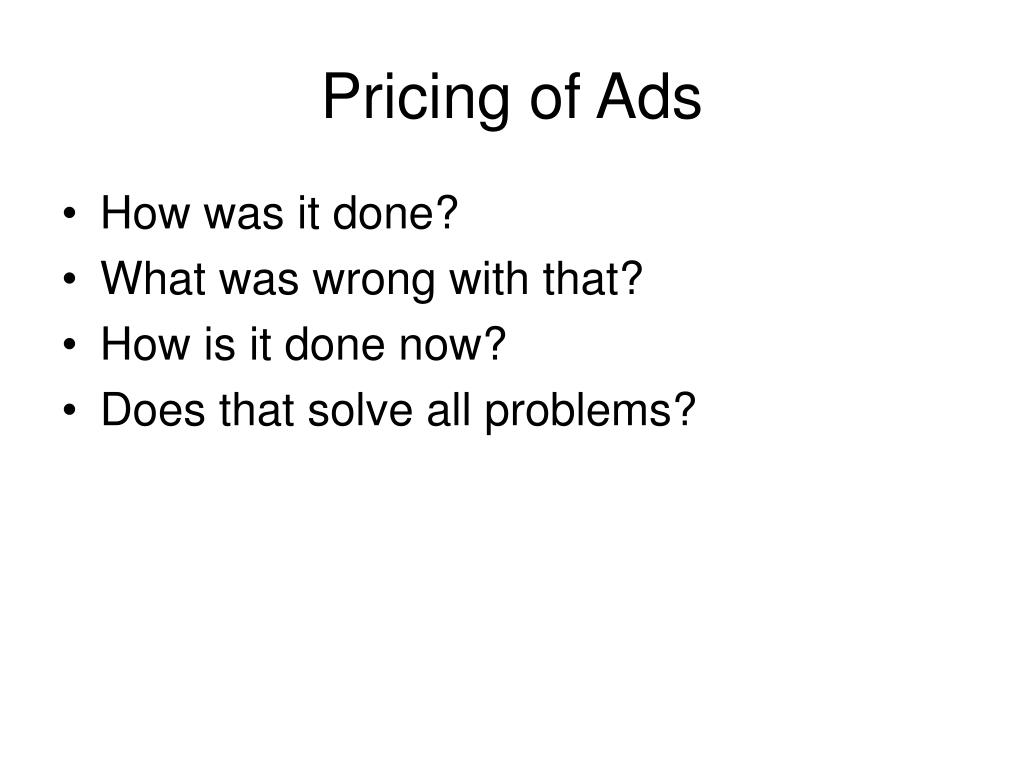 Pricing of Ads