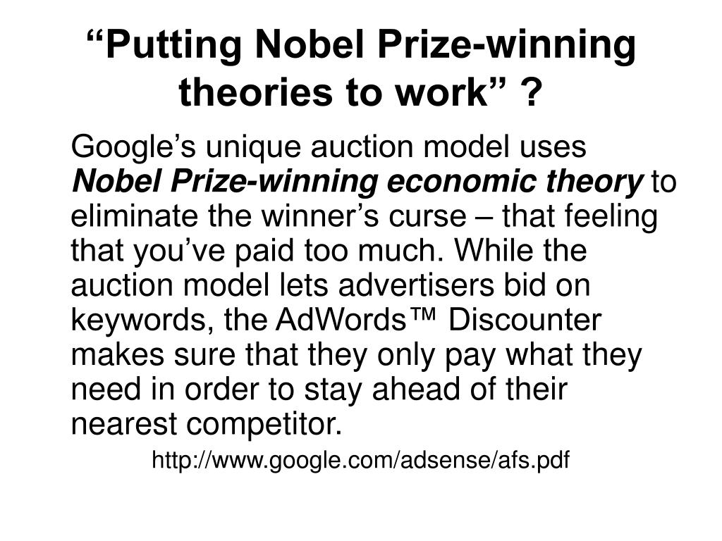 """Putting Nobel Prize-winning theories to work"" ?"