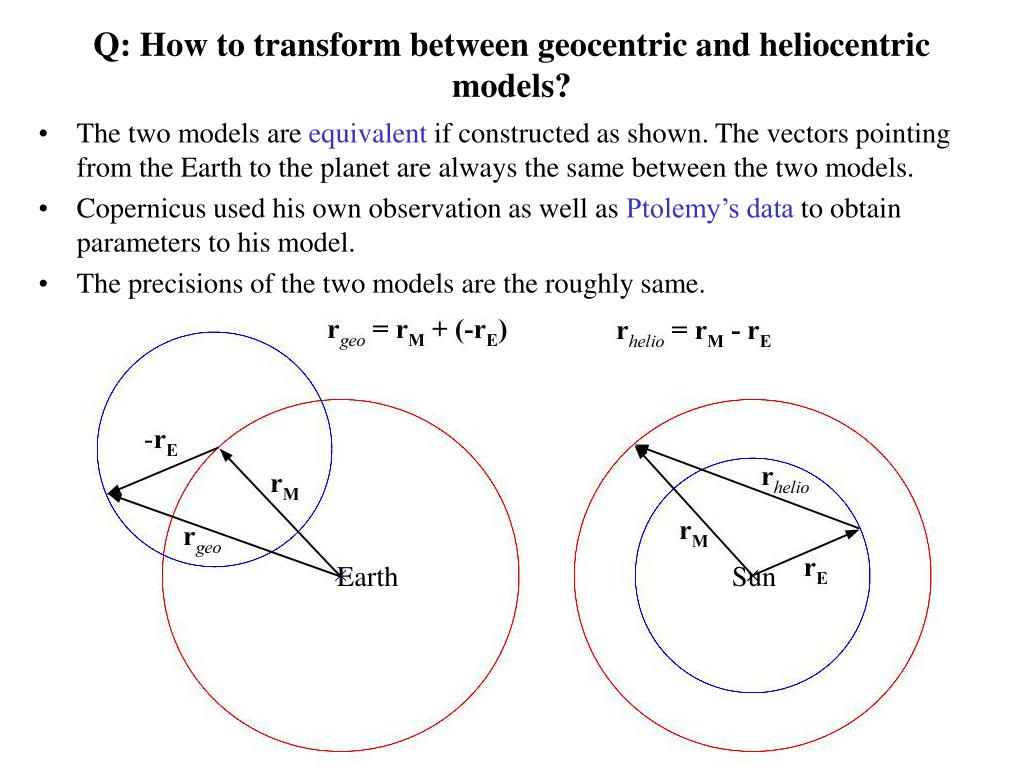 Q: How to transform between geocentric and heliocentric models?