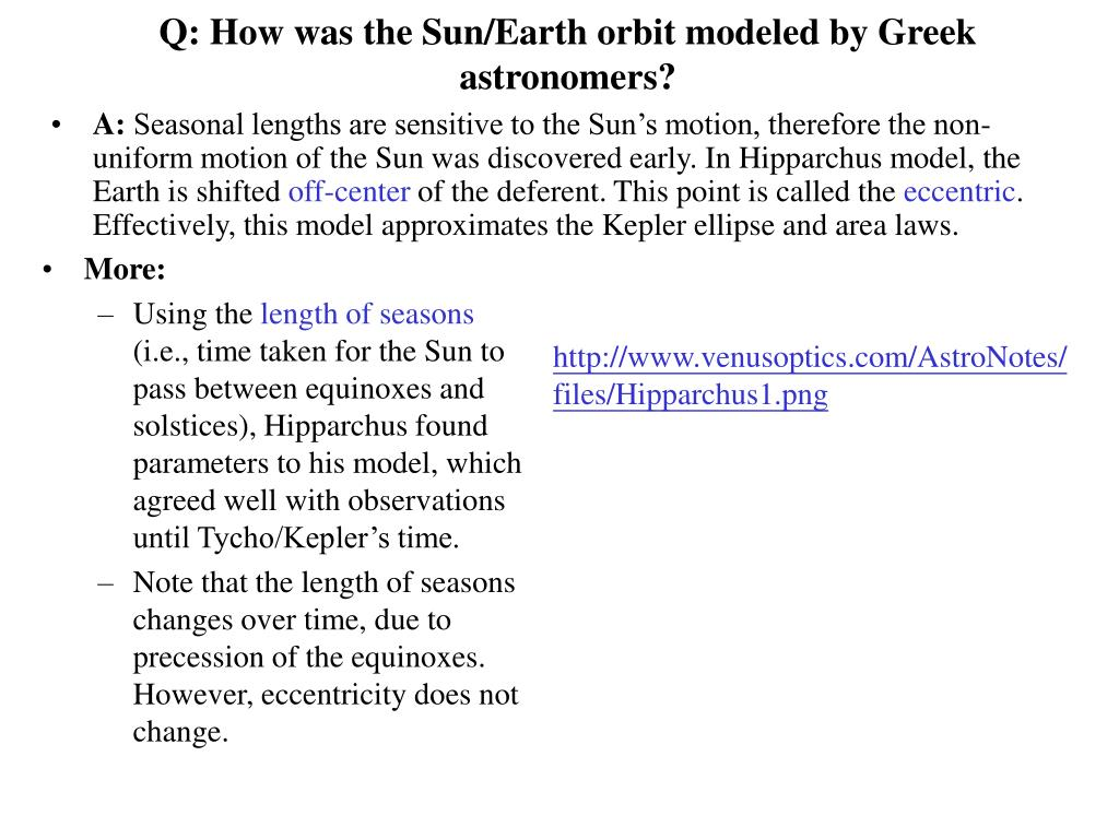 Q: How was the Sun/Earth orbit modeled by Greek astronomers?