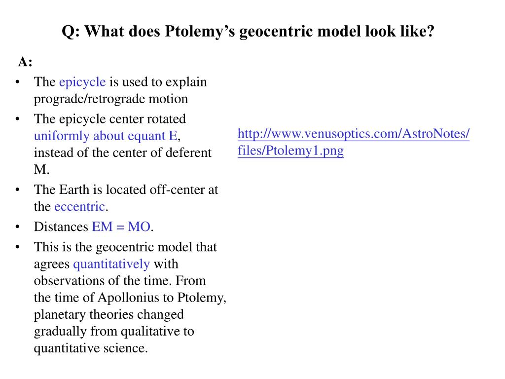 Q: What does Ptolemy's geocentric model look like?