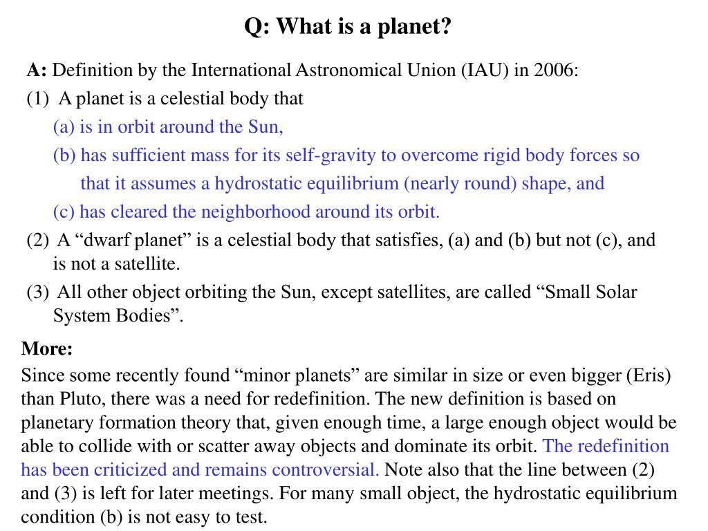 Q: What is a planet?