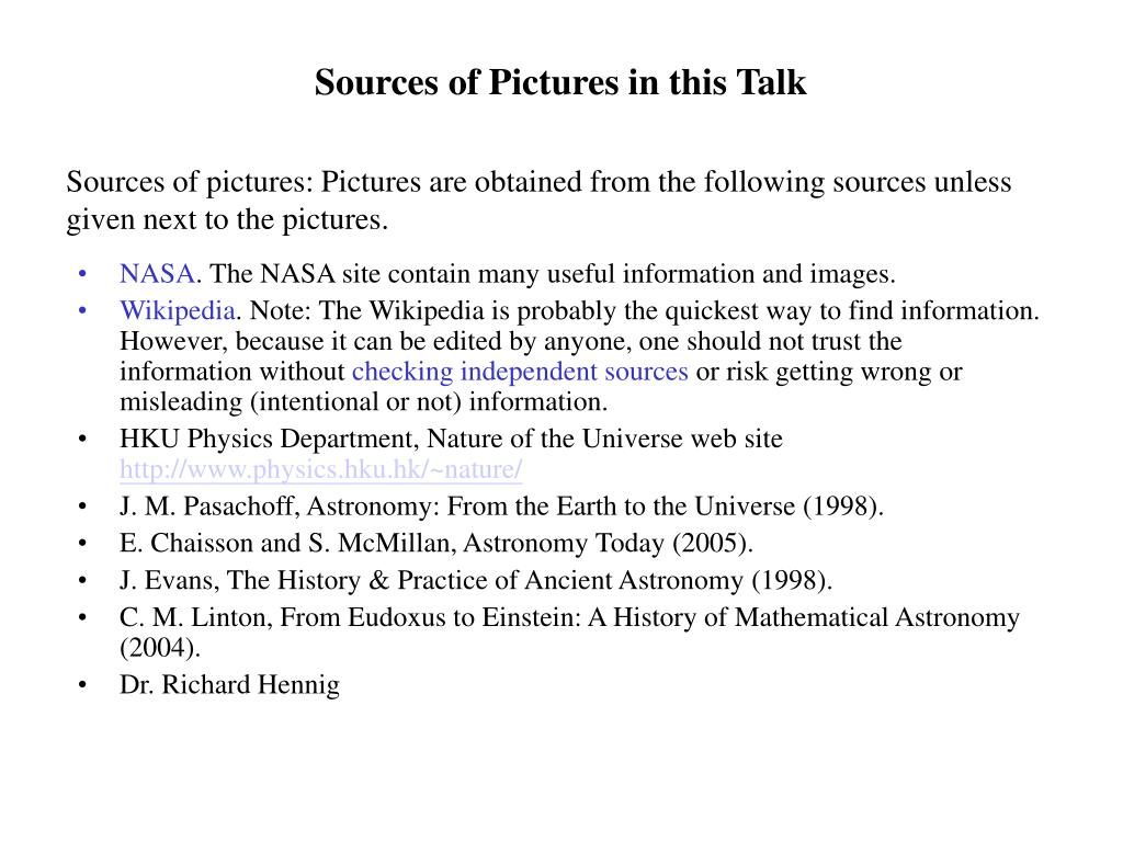 Sources of Pictures in this Talk