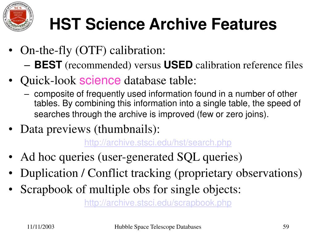 HST Science Archive Features