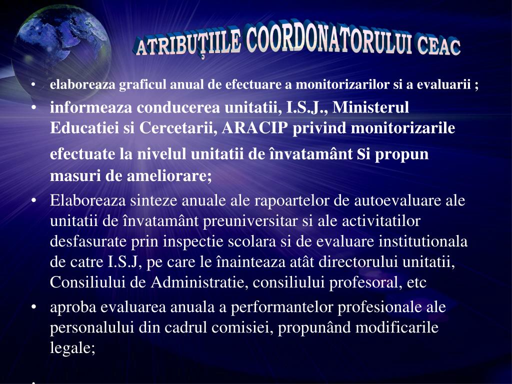 ATRIBUŢIILE COORDONATORULUI CEAC