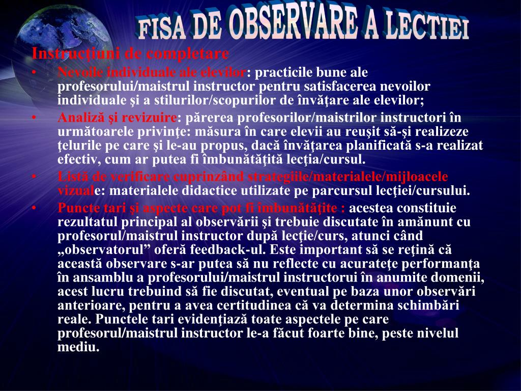 FISA DE OBSERVARE A LECTIEI
