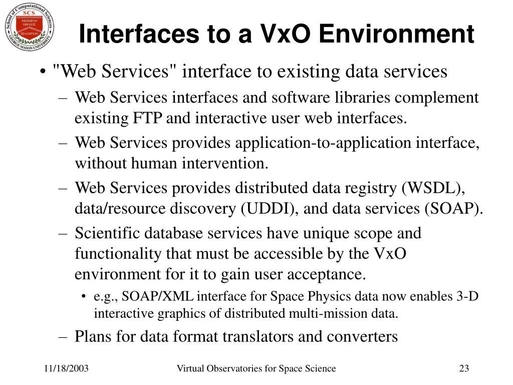 Interfaces to a VxO Environment
