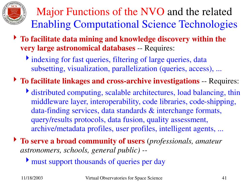 Major Functions of the NVO