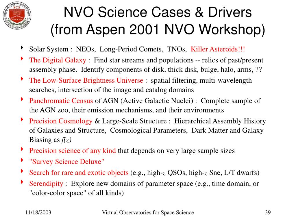 NVO Science Cases & Drivers